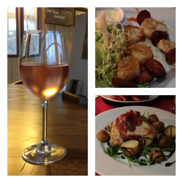 A chilled glass of rose tasted like summer even if the temperature outside was anything but. Chorizo and king prawn skewers with chilli mayo to start followed by chicken saltimbocca with pan fried potatoes and rocket.