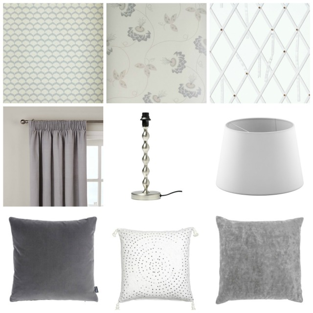 Top row (l-r): Neisha Crosland Pollen wallpaper, Neisha Crosland Merlin wallpaper, Christian Lacroix Air de Paris wallpaper. Middle row: curtains from John Lewis, lamp base and shade from Ikea. Bottom row: Grey cushions from Heal's and white cushion from Day Home
