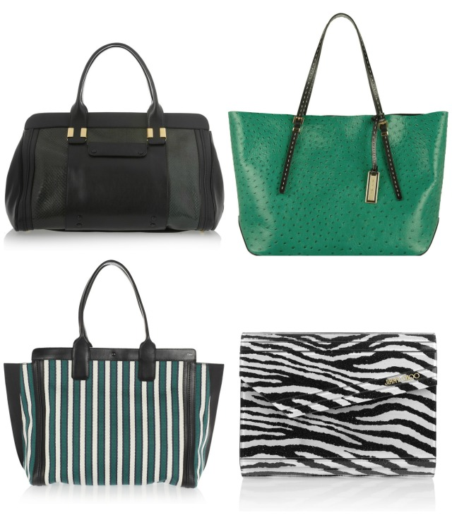 Chloe Alice tote was £2,205 now £1,544; Michael Kors Gia shopper was £655 now £328; Alison shopper by Chloe was £665 now £399; Zebra print clutch by Jummy Choo was £495 now £248