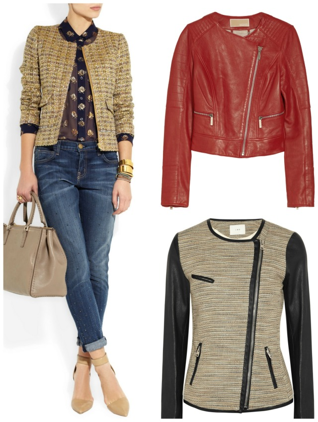 J Crew tweed jacket (on left) was £410 now £205; Michael by Michael Kors leather biker jacket was 515 now £309; Leather trimmed tweed jacket by IRO was £662 now £463