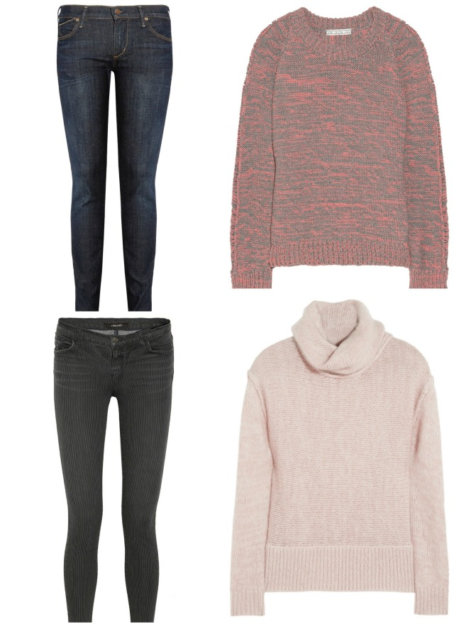 J Brand 811 striped skinny jeans was £225 now £112; Citizens of Humanity Avedon jeans was £210 now £147; Cottonblend sweater by Dagmar was £200 now £100; Duffy turtleneck was 250 now £150