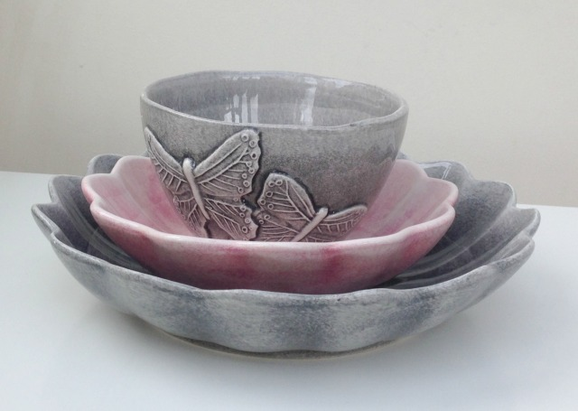 A few of my Mateus pieces: I love the grey and pale pink colour combination