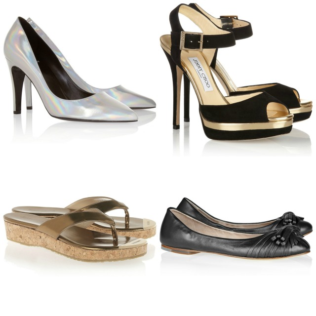 Pierre Hardy pumps was £465 now £279; Jimmy Choo Pence sandals was £250 now £125; Jimmy Choo Pavlova sandals was £495 now £346; Bloch ballet flats was £125 now £62