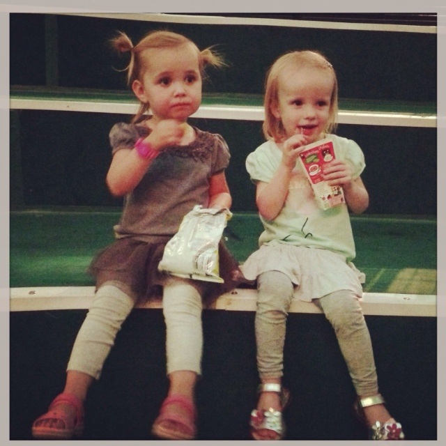 Clemmie and her best friend having some snacks before the show starts