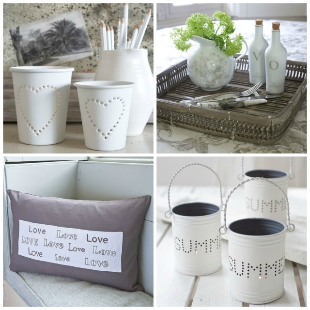 Clockwise from top left: Pierced Tealight holders now £3.57 for medium and £4.77 for large; Bamboo tray now £29.96; Summer Hurricane Lanterns now £6.48 for a set of three; Vintage Graphite Love Cushion now £17.97