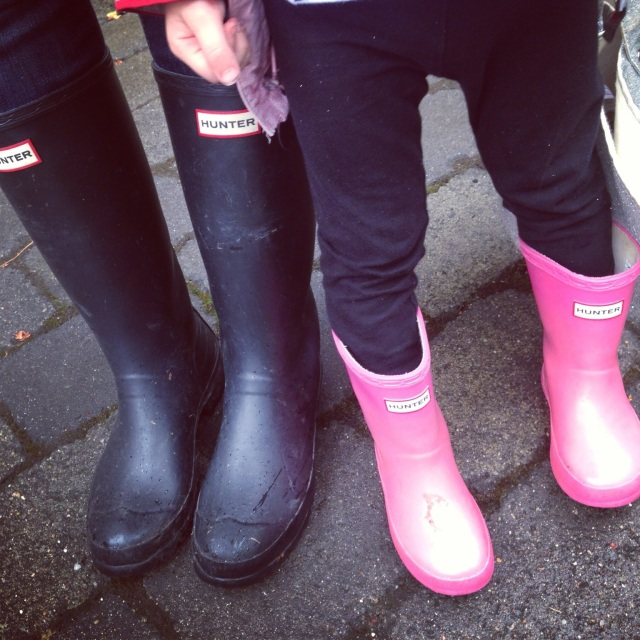 Wearing our wellies to take the boys to tennis camp on Tuesday