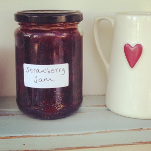 Our one and only jar of strawberry jam.
