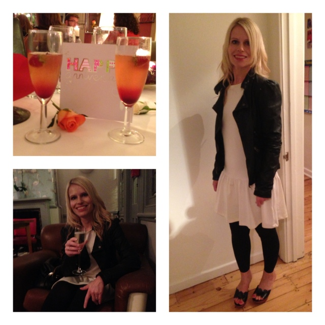 Ready to go out in H&M dress, Zara leather jacket and Miu Miu shoes.