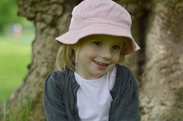 Clemmie in pink hat